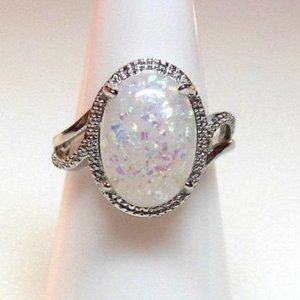 Ring Size 9 Simulated Fire Opal Oval Blue Pink 173